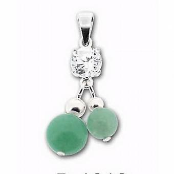 Toc Sterling Silver Double Green Aventurine Marbelised Ball Pendant
