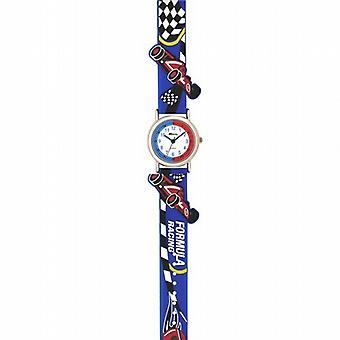 RavelTime Teacher White Dial 3D Racing Car Blue Rubber Strap Watch R1513.31B