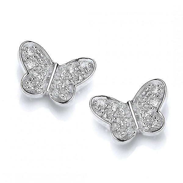Cavendish French Sterling Silver and CZ Butterfly Stud Earrings