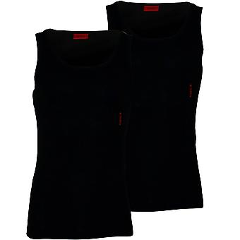 Hugo 2-Pack Side Logo Ribbed Stretch Cotton Vests, Black
