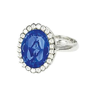 Eternal Collection Comtesse Oval Sapphire Blue Crystal Silver Tone Costume Ring