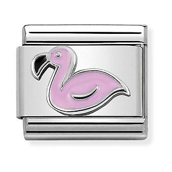 Nomination Classic Flamingo Steel, Enamel and 925 Silver Link Charm 330202/43