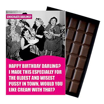 Lustige Katze Liebhaber Geburtstagsgeschenk für ältere Frauen Boxed Schokolade Grußkarte vorhanden CDL121