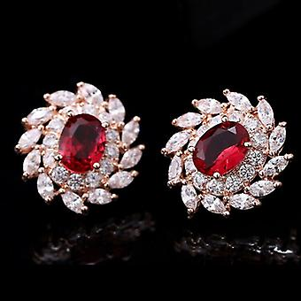 18K Gold Plated Red Cubic Zirconia Flower Studs