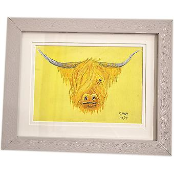 Keith Parry Highland Cow Original Acrylic Painting - Yellow