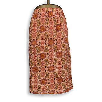 Liz Claiborne New York Skirt Pull-On Fully Lined Orange A253732