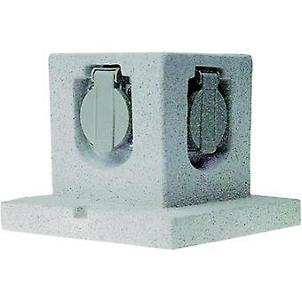 Weatherproof socket strip 4 x Stone grey ELRO GL40