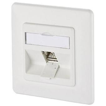 Network outlet Flush mount Insert with main panel and frame CAT 6A 1 port Metz Connect Pure white
