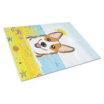 Red Corgi Summer Beach Glass Cutting Board Large BB2122LCB