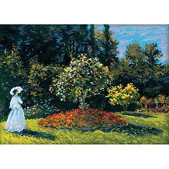 Woman In Garden After Monet's Painting Counted Cross Stitch-15.75