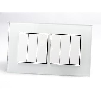 I LumoS AS Luxury White Crystal Glass Double Frame 6 Gang 1 Way Rocker Light Switches