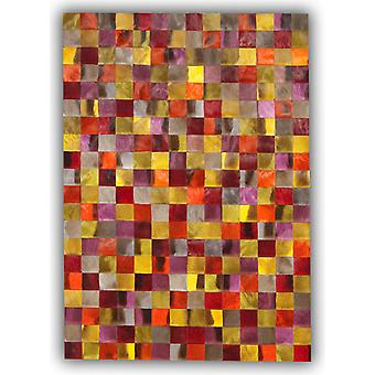 Rugs -Patchwork Leather Cubed Springbok Hide - Springbok Dyed Colours