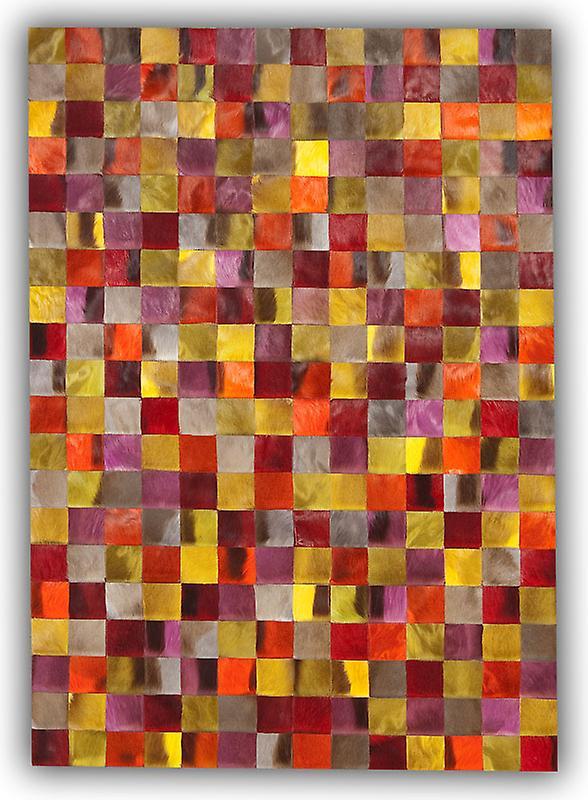 Teppiche - Patchwork Leder Cubed Springbock Fell - Springbok Farben gefärbt