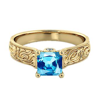 1.06 ctw Blue Topaz Ring with Diamonds 14K Yellow Gold Filigree Cathedral Princess