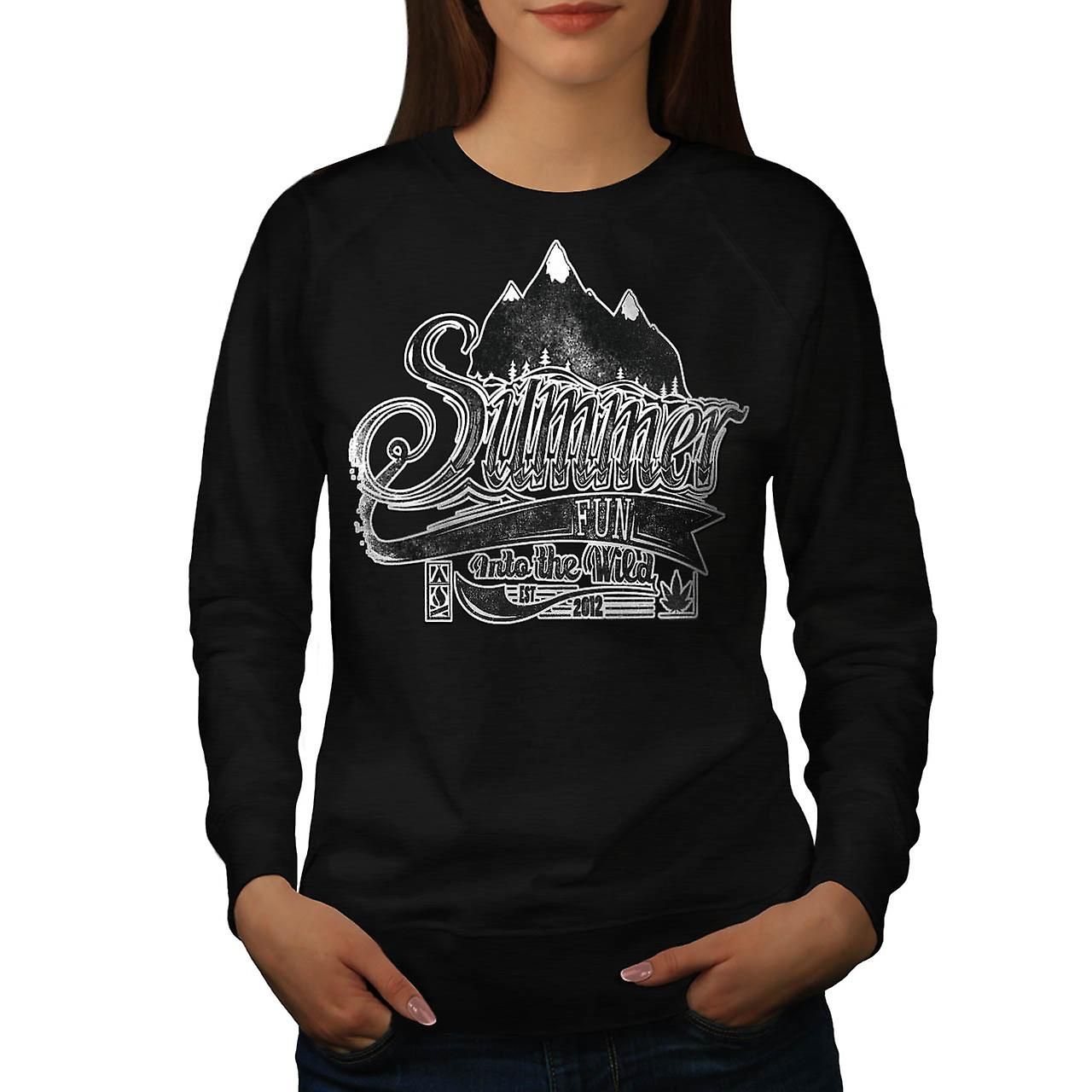 Summer Fun Into Wild Camping Kit Women Black Sweatshirt | Wellcoda