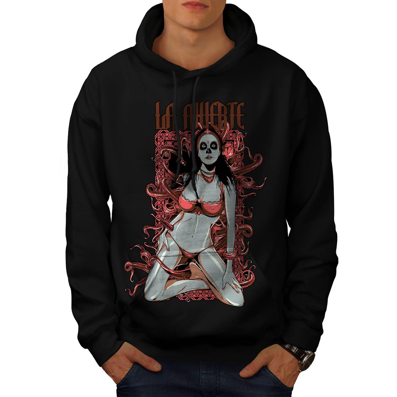 Death Horror Model Seduction Bra Men Black Hoodie | Wellcoda