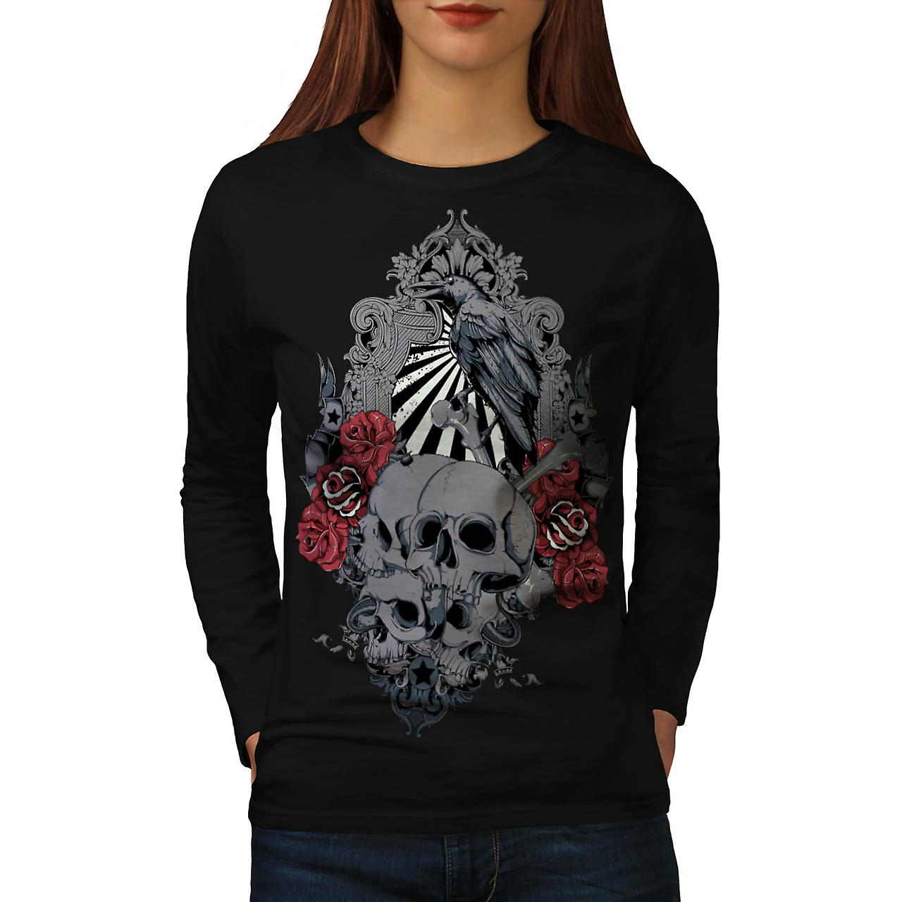 Death Skull Cemetery Burial Land Women Black Long Sleeve T-shirt | Wellcoda
