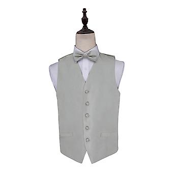 Solid Check Silver Wedding Waistcoat & Bow Tie Set