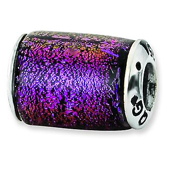 Charm in argento Sterling riflessi viola vetro dicroico Barrel Bead