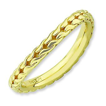 2.25mm Sterling Silver Stackable Expressions Polished Gold-plated Wave Ring - Ring Size: 5 to 10