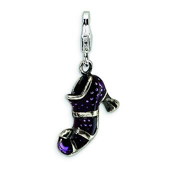 Sterling Silver Antiqued Enameled Witches Shoe With Lobster Clasp Charm - Measures 29x15mm