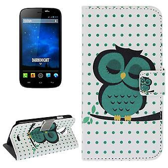 Cover cell phone case (flip cross) for mobile WIKO Furthermore Knight thick OWL on tree branch