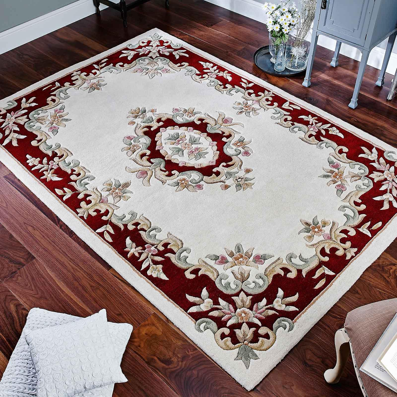 Royal Aubusson Wool Rugs In Cream Red