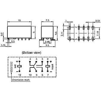 PCB relays 5 Vdc 2 A 2 change-overs Hongfa HFD3/005-L2S 1 pc(s)