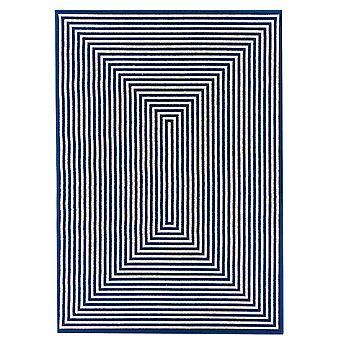 Moderne Navy Blue flade geometrisk tæppe - Floorit