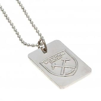 West Ham United Silver Plated Dog Tag & Chain