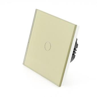I LumoS Gold Glass 1 Gang 1 Way Touch LED Light Switch
