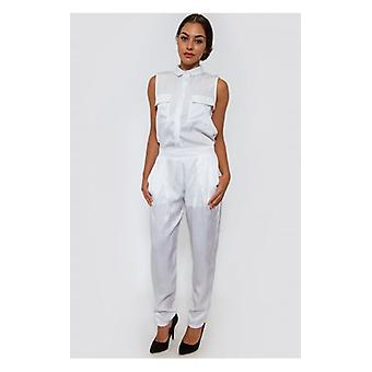 The Fashion Bible Ella White Satin Utility Jumpsuit