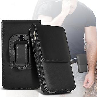 ONX3 (Black) Premium Vertical Faux Leather Belt Holster Pouch Cover Case With Magnetic Closure For Motorola Moto E5 Play [ XXL]