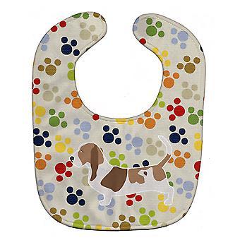 Carolines schatten BB6307BIB Basset Hound Pawprints Baby slabbetje
