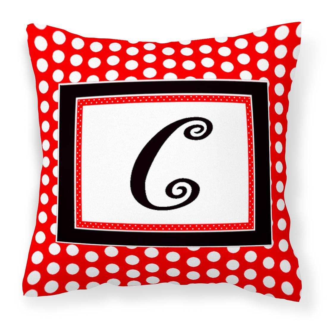 Noirs Pois Toile Monogramme Rouge Décoratif C Initiale Lettre Oreiller Tissu P8wnO0kX