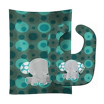 Carolines Treasures  BB6838STBU Polkadot Naptime Elephant Baby Bib & Burp Cloth