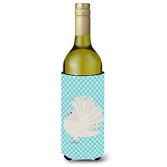Zilveren Fantail duif blauw Check wijnfles Beverge isolator Hugger