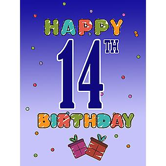 Carolines tesori CJ1105GF felice 14 ° compleanno bandiera del giardino