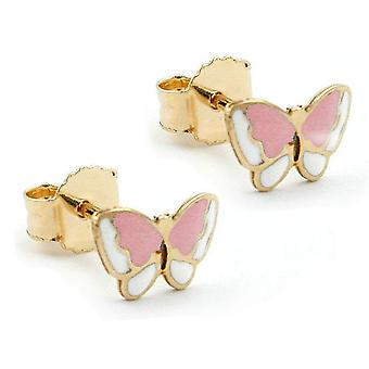 Earrings gold 375 plug, butterfly pink 9 KT GOLD children's jewellery