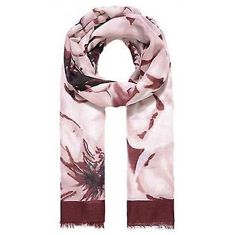 Intrigue Bordered Floral Print Scarf - Wine