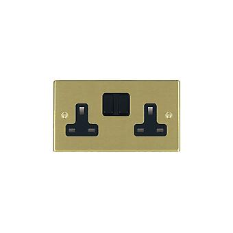 Hamilton Litestat Hartland Satin Brass 2g 13A DP Switched Socket BL/BL