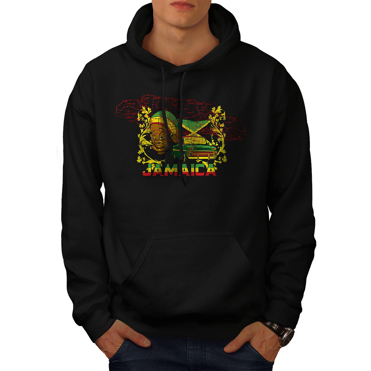 Jamaica Rasta Mobile Men Black Hoodie | Wellcoda