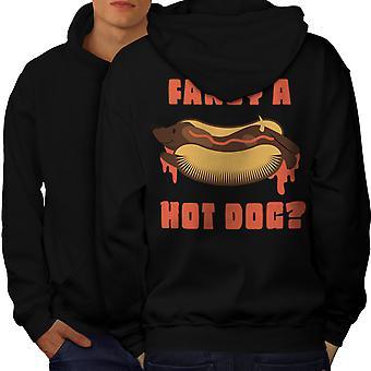 Fancy Hot Dog Men BlackHoodie Back   Wellcoda