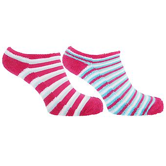 Ladies/Womens Striped Cotton Rich Trainer Socks (Pack Of 2)