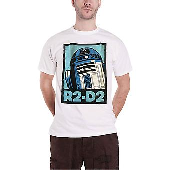 Star Wars T Shirt R2D2 Retro Robot Vintage Poster Official Mens New White
