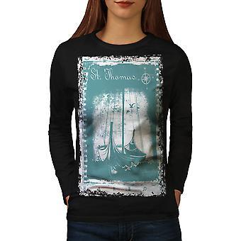 St. Thomas schip T-shirt van de koker van de BlackLong van de vrouwen | Wellcoda