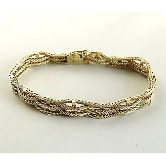 14 k White and yellow gold braided bracelet