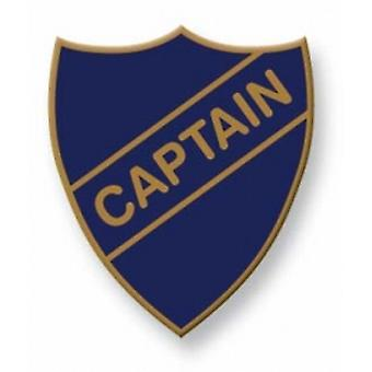 Captain Enamel Shield Badge, Old School Vintage Style!