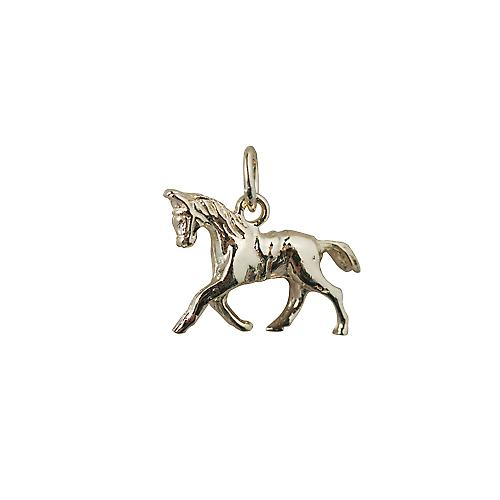 9ct Gold 13x19mm saddled cantering horse mini charm
