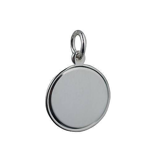 Silver 17mm round Disc with line border